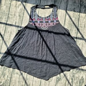 Hollister Tribal Embroidered Knit Blue Tank Top  M